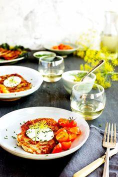 Potato Provolone Cakes with Dill Crème Fraîche - #potatopancakes #glutenfree #vegetarian