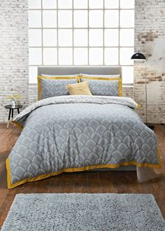 Our stylish fan printed duvet cover in grey features a bold mustard oxford edge trim and is the perfect centre piece for your bedroom in luxuriously soft... Mustard And Grey Bedroom, Mustard Bedding, Bedroom Color Schemes, Bedroom Colors, Bedroom Inspo, Bedroom Ideas, Bedroom Furniture, Bedroom Decor, Boho Bedding