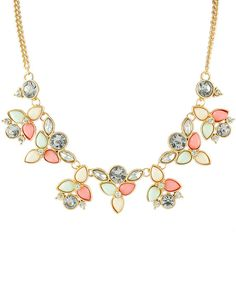 Pink+Gemstone+Gold+Leaves+Chain+Necklace+7.90