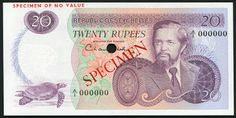 Currency of the Seychelles 20 Rupees banknote. Seychelles banknotes, Seychelles paper money, Seychelles bank notes.  Obverse: Portrait of Sir James Richard Marie Mancham, the first President of Seychelles from 1976 to 1977. Seychelles Giant Tortoise at lower left.