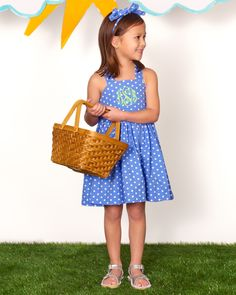 Dress her up for play or special days in this sweet spring style in marina blue dot! Add a monogram too for a personal touch!