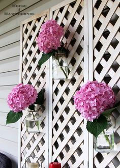 DIY Porch and Patio Ideas - Mason Jar Vase on Lattice - Decor Projects and…