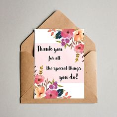 """Thank You Cards Printable. Floral Thank You Cards 5""""x7"""". Instant Download. Thank You Cards Friends Family. Bridal Shower Thank you Cards by MSdesignart on Etsy"""
