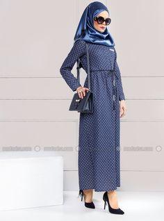 Robe boutonnée Détail - Bleu foncé - Robe - Modanisa