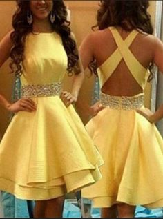 Yellow Cross Back Homecoming Dresses, Satin New Style