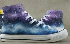 Galaxy Shoes For Men Women Hand Painted Canvas Shoes Chuck Taylor Mens Women Black Canvas Shoes, Painted Canvas Shoes, Painted Sneakers, Hand Painted Shoes, Galaxy Converse, Galaxy Shoes, Grunge Style, Soft Grunge, Style Converse