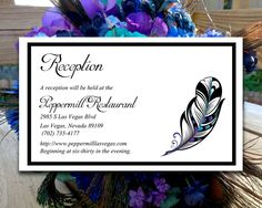 """DIY Wedding Reception Card Template - Peacock Wedding Invitation Insert """"Stained Glass Feather"""" Regency Malibu Light Turquoise DIY Wedding by PaintTheDayDesigns on Etsy"""
