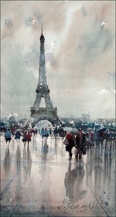 dusan-djukaric-paris-watercolor-26x48-cm