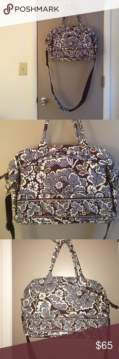 Medium Vera Bradley Travel Bag Light use. Like new condition. It has many pockets on the inside and out. Secure padded spot for a laptop. Also can be attached to rolling luggage. The long strap is completely detachable. Great carry-on bag. Vera Bradley Bags Travel Bags