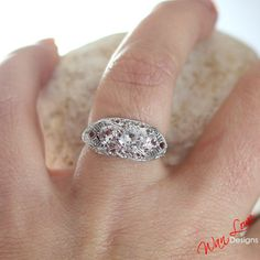 Moissanite 3 Stone Antique filigree ring 14k 18k by WanLoveDesigns