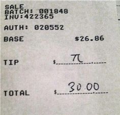 Very clever, but only about 11% tip, will have to watch for opportunity to steal this idea!