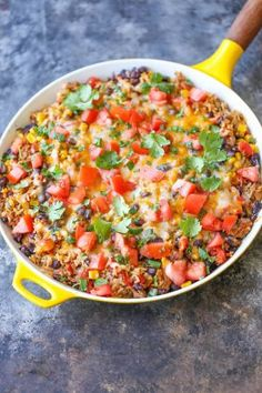One Pot Mexican Beef and Rice Casserole - An easy peasy skillet dinner loaded with all that cheesy goodness. Even the rice gets cooked right in the pan!