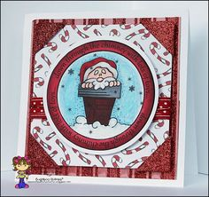 Christmas card featuring Bugaboo Stamps Winter Circle Sentiment-Chimney.