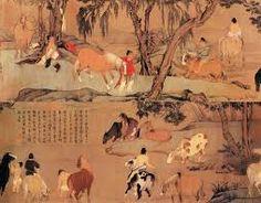 元, 赵孟頫, 《浴马图》。 此卷画溪水一湾,清澈透明,梧桐垂柳,绿荫成趣,骏马数匹,马官九人。画中马的姿态各异,神态生动,或立于水中,或饮水吃草,有的昂首嘶鸣,或卧立顾盼。马倌们牵马临溪,或冲浴马身,或于岸边小憩。人物、鞍马分别施以不同色彩,丰富浓郁而又清丽,做到了色不掩笔。用笔精细,色调浓润,风格清新秀丽。是代表了赵孟頫人物鞍马画中的典型风貌,是件形神兼备、妙逸并具、风格高雅的艺术精品。