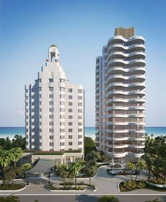 A rendering of the two new condo towers at Faena Miami Beach.