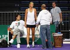 Maria Sharapova Sasha Vujacic Photos - Maria Sharapova of Russia with Sasha Vujacic at a practice session during previews for the WTA Championships 2011 on October 22, 2011 in Istanbul, Turkey. - WTA Championships - Istanbul 2011 - Previews