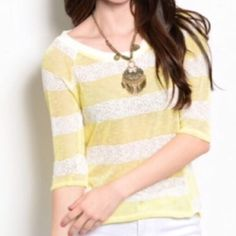 """YELLOW AND WHITE SPRING SWEATER Semi sheer sweater with yellow and white stripes and elbow length sleeves. 55% polyester 45% cotton.  Small measures L26"""" B15"""" W15"""". M and L will measure slightly larger.  M - 2 NO PAYPAL NO TRADES. Due to Poshmark's commission, price is FIRM unless bundled. All sales final. Tops"""