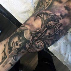 Realistic Eye Of Horus Mens Ehyptian Themed Full Sleeve Tattoo