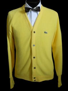 Vintage 70s 80s Grandpa Golf Cardigan, 1970s 1980s Mens Sunshine Yellow Lacoste Sweater w Alligator Logo by Izod, Size Large