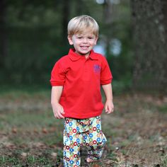 10/02/2013  Boy's Red Circles Pants Set