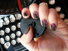 Black, pink, two colors, rhinestones, short nails, simple