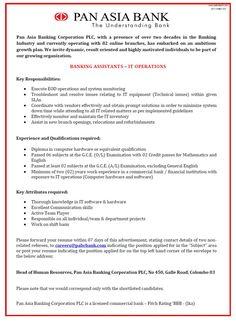 Internship at Pan Asia Banking Corporation PLC Career