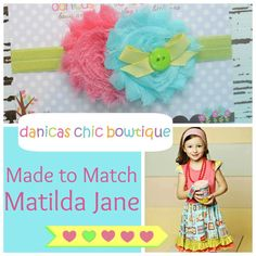 Another headband made to match this other super cute Matilda Jane dress! $9.50 plus shipping. Made by Danica's Chic Bowtique.