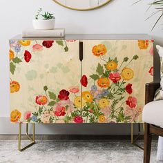 East Urban Home Iveta Abolina Emmaline Credenza Painted Furniture, Diy Furniture, Decoupage Furniture, Furniture Dolly, Modern Furniture, Styling A Buffet, Wood Veneer, Walnut Wood, Table Linens
