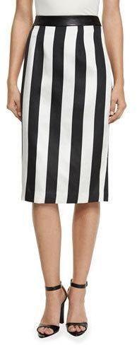 b7635d9e1c Kendall + Kylie Striped Leather-Trim Pencil Skirt High Waisted Pencil Skirt,  Pencil Skirts