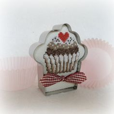 Cross Stitch Cupcake in Cookie Cutter Frame for sale on Etsy by SnowBerryNeedleArts