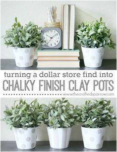 Chalky Finish Clay Pots #dollarstorecrafts #chalkyfinish