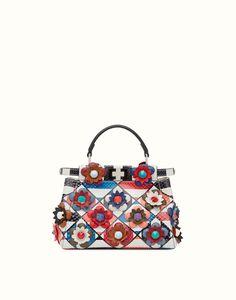 FENDI | FASHION SHOW MINI PEEKABOO handbag in patchwork python skin with flowers