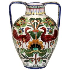Piediluco Large Old Antique Italian Pottery Faience Majolica Jug Peacock Vase | From a unique collection of antique and modern vases and vessels at https://www.1stdibs.com/furniture/decorative-objects/vases-vessels/