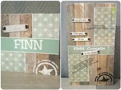 Geboortekaart op steigerhout. Finn