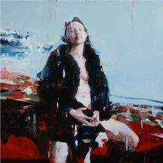 "Alex Kanevsky, J.F.H. with Painting 36"" x 36"", oil on wood"