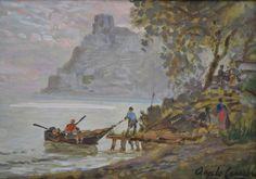 ANGELO CANNONE - (1899 - 1992)    Título: Pescadores  Técnica: óleo sobre eucatex  Medidas: 20 x 28 cm  Assinatura: canto inferior direito