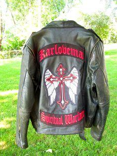 "Custom Karlovema ""SPIRITUAL WARFARE"" Black Leather Motorcycle Jacket / 2014"