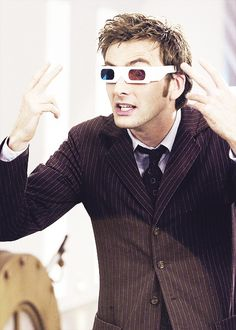 Isn't anyone going to ask about the glasses? (I did wonder about those.) <--- duh it's so he can see everything in 3D