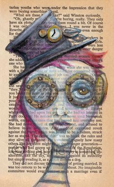 Steampunk Pollyanna: Goth Fantasy Steampunk Girl with Top Hat and Goggles, Text Art Print 4x7. $14.00, via Etsy.