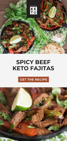 One of the easiest skillet recipes you'll ever come across, these spicy beef keto fajitas are perfect for a quick low carb meal any night of the week. Beef Fajita Recipe, Beef Skillet Recipe, Easy Skillet Meals, Beef Fajitas, Skillet Recipes, Lunch Recipes, Beef Recipes, Low Carb Recipes, Healthy Recipes