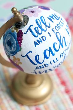 The perfect end of the year gift for any teacher@ Painted Globe, Hand Painted, Globe Crafts, Going Away Parties, Globe Art, Graduation Cookies, Classroom Themes, Metallic Paint, Globes