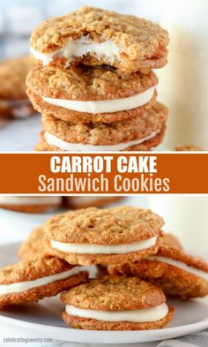 Mar 2020 - Soft and chewy Carrot Cake Cookies filled with cream cheese frosting. Carrot Cake Sandwich Cookies, Carrot Cake Cookies, Vegan Carrot Cakes, Carrot Cake Recipes, Carrot Cake Muffins, Fun Desserts, Delicious Desserts, Dessert Recipes, Healthy Cookies