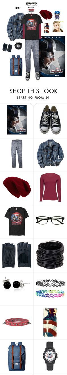 """""""Captain America"""" by robinwhite ❤ liked on Polyvore featuring Converse, Current/Elliott, Gap, Sole Society, Marvel Comics, Zanellato, Saachi, Bling Jewelry, Accessorize and Casetify"""