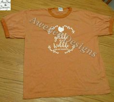 Gobble Till You Wobble and Give Thanks Thanksgiving Adult Ringer Shirt