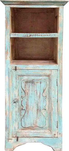Inspired by blooming hydrangeas, this pastel blue cabinet has hints of light rose and 2 covered, 2 uncovered shelves. It would make a captivating addition to your stylish decor.