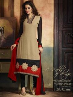 Beige Designer Straight Salwar Suit for Eid