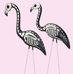 DIY Inspiration. Take a pink flamingo, paint it black and draw on skeleton.