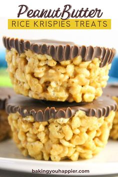 dessert recipes Peanut Butter Rice Krispies Treats, a dairy-free quick and easy to make no bake dessert! Everyone will love this not too sweet crispy treat! Easy Desserts, No Bake Desserts, Delicious Desserts, Dessert Recipes, Yummy Food, Cheesecake Desserts, Fudge Recipes, Rice Recipes, Easy Sweets