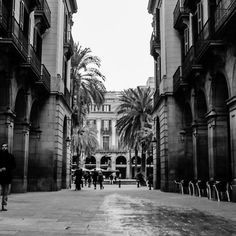 #Barcelona - Urban Scene from La Rambla, a view of Plaça Reial. #Art #Prints and more on #RedBubble: