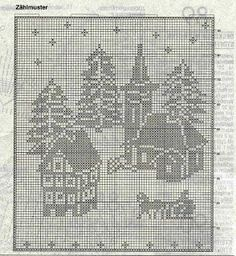 Bilderesultat for diagram til dobbelt strikk Xmas Cross Stitch, Cross Stitch Charts, Cross Stitching, Cross Stitch Embroidery, Cross Stitch Patterns, Crochet Applique Patterns Free, Filet Crochet Charts, Crochet Motif, Crochet Doilies